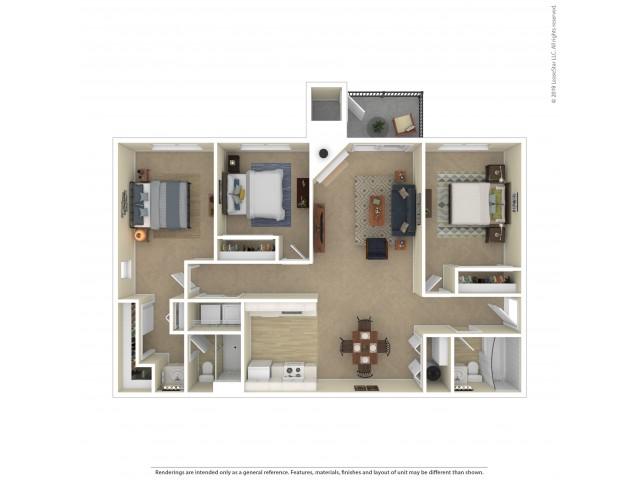Oak Three Bedroom Two Bathroom Apartment