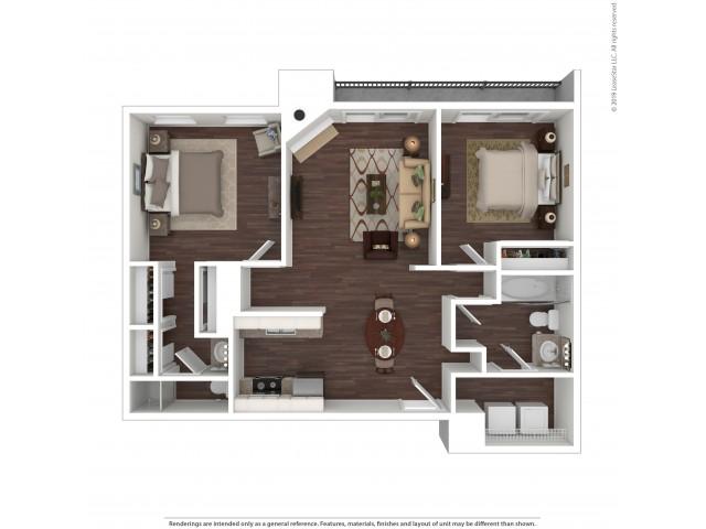 2 Bedroom Floor Plan | Apartments In Aurora Colorado | The Grove at City Center