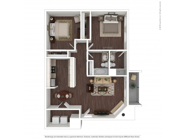 2 Bdrm Floor Plan | Pet Friendly Apartments Aurora Co | The Grove at City Center