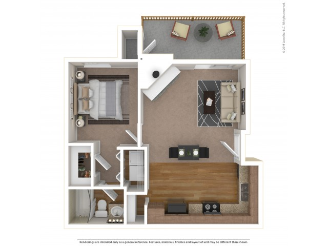 Studio Floor Plan | Apartments For Rent In Tukwila, WA | Villages at South Station Apartments