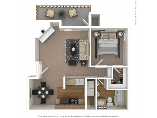 1 Bedroom Floor Plan | Apartments For Rent In Tukwila, WA | Villages at South Station Apartments