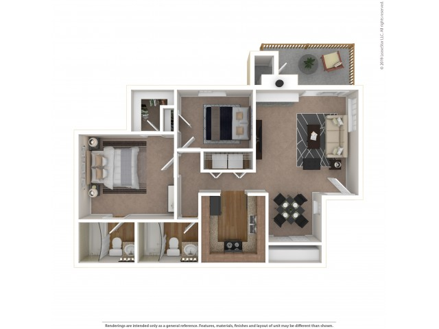 2 Bedroom Floor Plan | Apartments For Rent In Tukwila, WA | Villages at South Station Apartments
