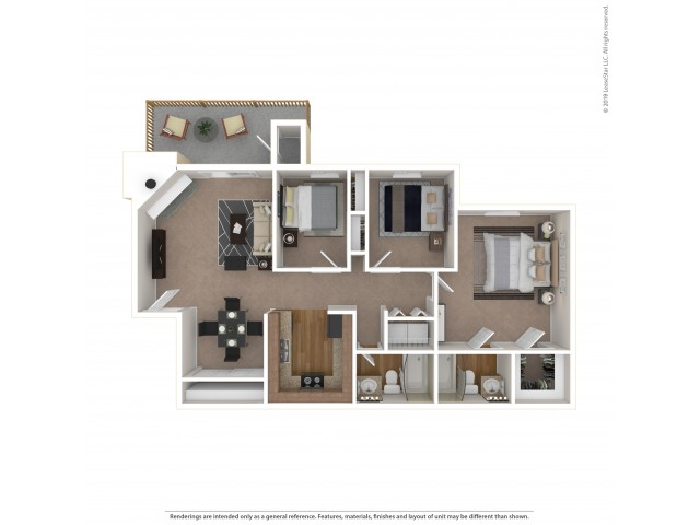 3 Bedroom Floor Plan | Apartments For Rent In Tukwila, WA | Villages at South Station Apartments