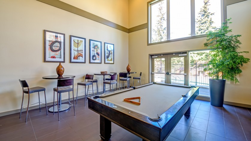 Billards Table and Lounge Area  |   Apartments in Kirkland WA  |   The Emerson