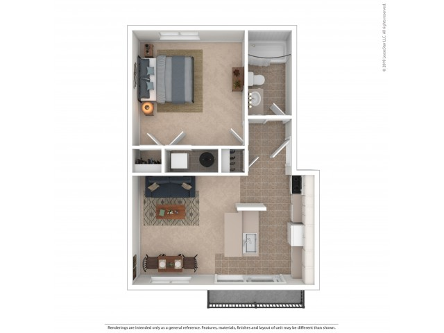 1 Bedroom Floor Plan | Apartments For Rent In Kirkland, WA | Emerson Apartments