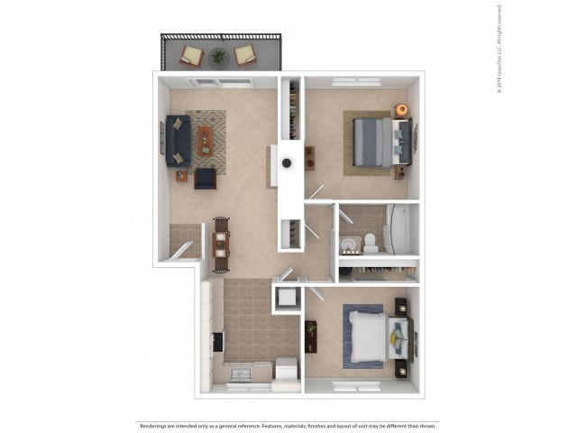 2 Bedroom Floor Plan | Apartments For Rent In Kirkland, WA | Emerson Apartments
