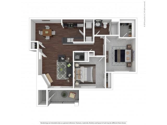 2 Bdrm Floor Plan | Apartments For Rent In Castle Rock Colorado | The Bluffs at Castle Rock