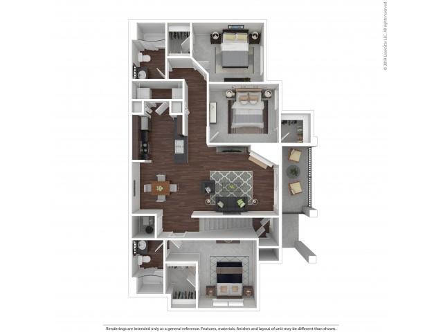 3 Bedroom Floor Plan | Castle Rock Colorado Apartments | The Bluffs at Castle Rock