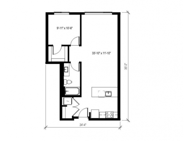 One Bedroom One Bath Floor Plan 4 | Augusta Apartments | Seattle Apartments for Rent