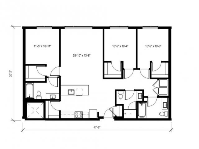 3 Bedroom Floor Plan | Augusta Apartments | University District apartments