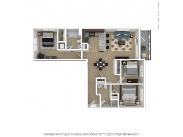 Floor Plan 3 | Apartments In Southwest Portland | Element 170