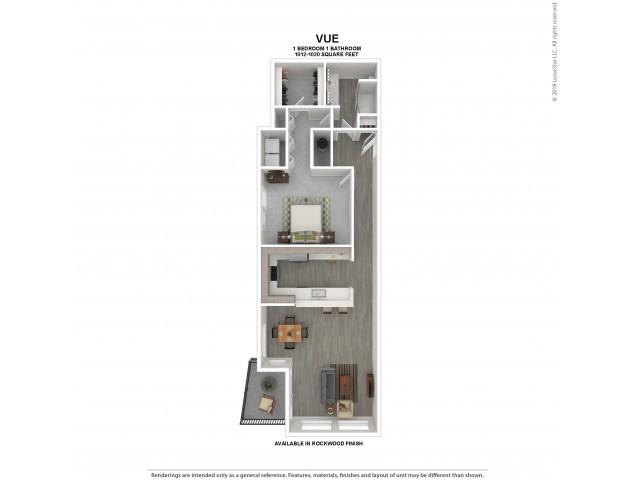 Vue Floor Plan | Rockwood | 1 Bedroom 1 Bath Apartment Floor Plan | Apartments for Rent in Kirkland WA | The Carillon Apartment Residences