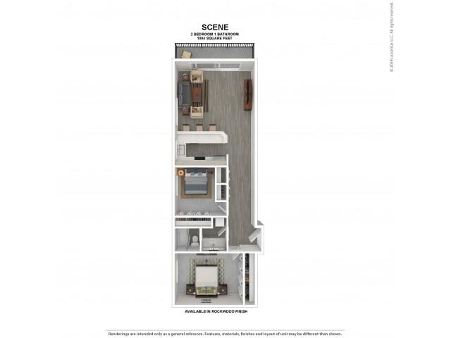 Scene Floor Plan | Rockwood | 2 Bedroom 1 Bath Apartment Floor Plan | Apartments for Rent in Kirkland WA | The Carillon Apartment Residences