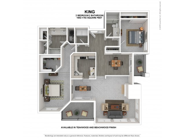 King Floor Plan | Beachwood | 2 Bedroom 2 Bath Apartment Floor Plan | Apartments For Rent in Kirkland WA | The Carillon Apartment Residences