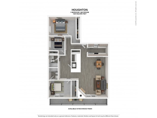 Three Bedroom Floor Plan | Rockwood | 3 Bedroom 2 Bath Apartment Floor Plan | Apartments For Rent in Kirkland WA | The Carillon Apartment Residences