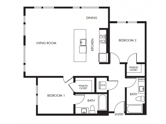 Two Bedroom Floor Plan    Anthology Apartments   Apartments Issaquah