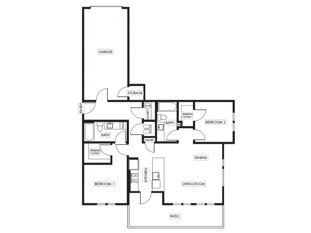 Two Bedroom Two Bath Garden with Garage Floor Plan | Anthology Apartments | Issaquah Apartments