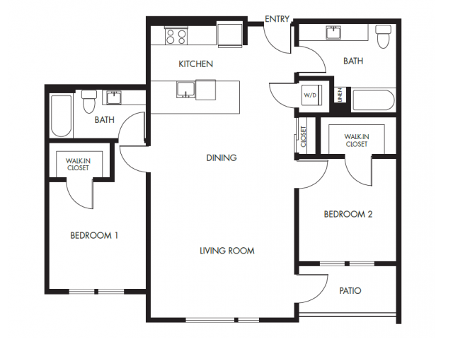 2 Bedroom 2 Bath Floor Plan 13 | Anthology Apartments | Apartments For Rent Issaquah Wa
