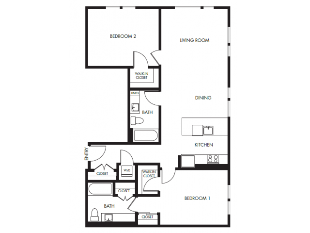 2 Bedroom 2 Bath Podium | Floor Plan 15 | Anthology Apartments | Apartments Issaquah