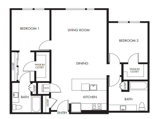 Two Bedroom Two Bath Podium Floor Plan 17 | Anthology Apartments | Issaquah Apartments