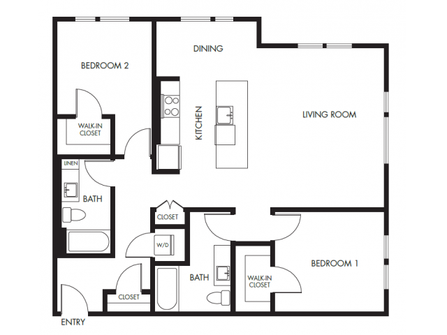 Two Bedroom Two Bath Podium Floor Plan 18 | Anthology Apartments | Apartments For Rent Issaquah Wa