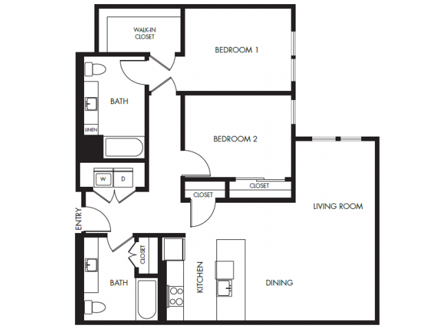 Two Bedroom Two Bath Podium Floor Plan 19 | Anthology Apartments | Apartments Issaquah Wa