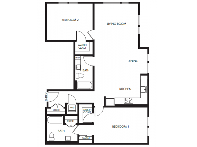 Two Bedroom Two Bath Podium Floor Plan 20 | Anthology Apartments | Apartments Issaquah