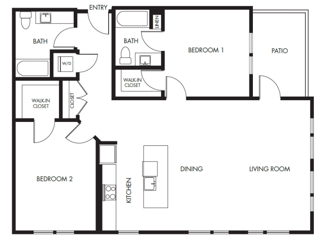 Two Bedroom Two Bath Podium Floor Plan 21 | Anthology Apartments | downtown Issaquah apartments