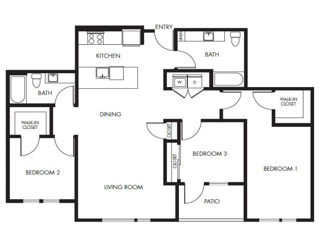 Three Bedroom Two Bath Podium Floor Plan 23 | Anthology Apartments | Apartments For Rent Issaquah Wa
