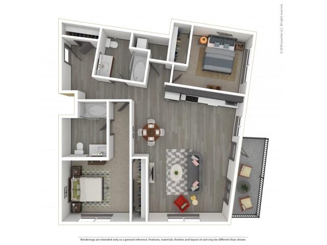 Eastmoreland b8.2 Two Bedroom Two Bath 1045 Square Feet