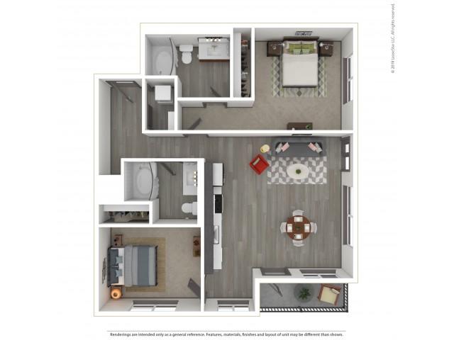 Eastmoreland b6.2 Two Bedroom Two Bath 1028 Square Feet