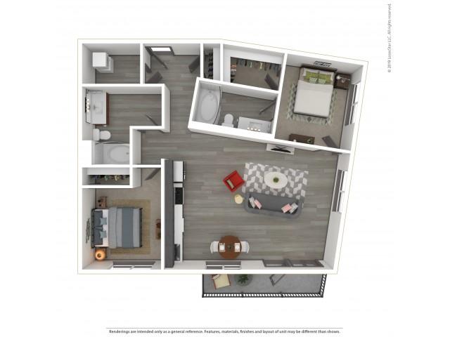 Eastmoreland b5.2 Two Bedroom Two Bath 1016 Square Feet
