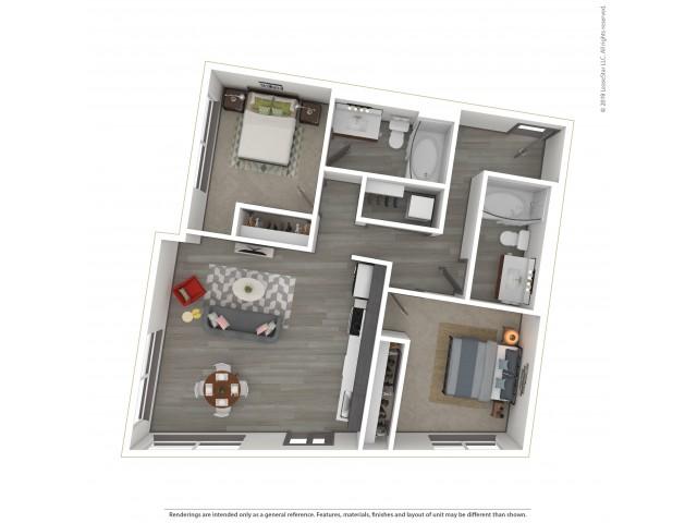 Eastmoreland b2.2 Two Bedroom Two Bath 939 Square Feet