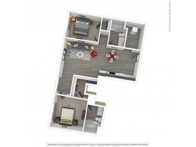 Eastmoreland b17.2 Two Bedroom Two Bath 1010 Square Feet