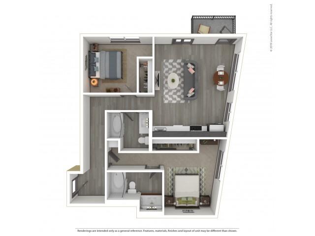 Eastmoreland b16.2 Two Bedroom Two Bath 957 Square Feet