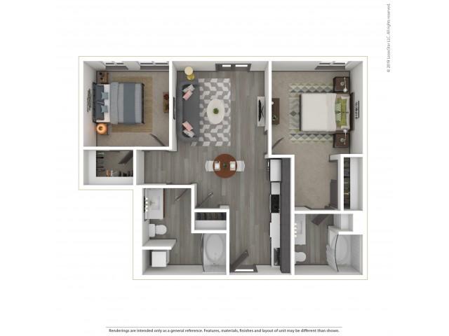Eastmoreland b1.2 Two Bedroom Two Bath 811 Square Feet