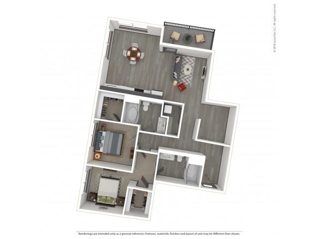Fulton b10.2 Two Bedroom Two Bath 1071 Square Feet