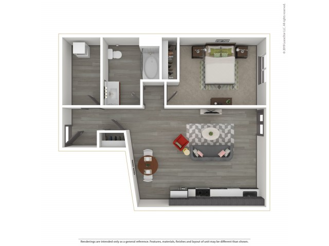 Multnomah a15.1 One Bedroom One Bath 715 Square Feet