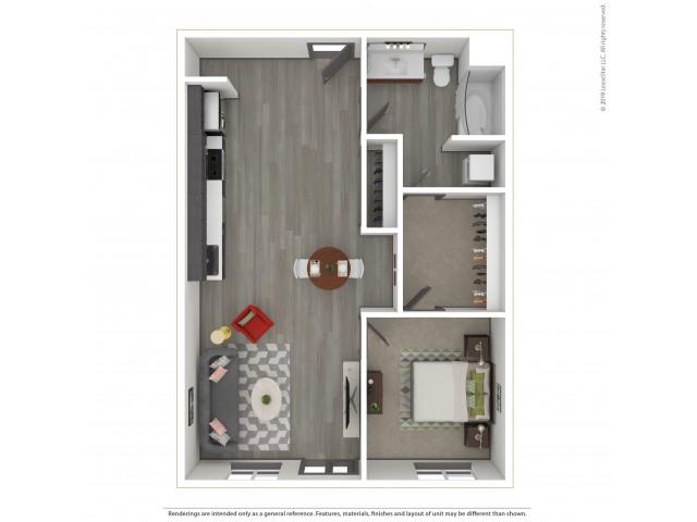 Willamette a16.1 One Bedroom One Bath 726 Ft