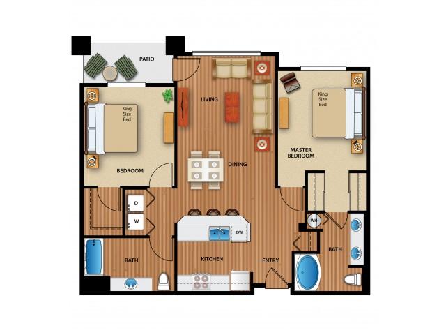 3D Image | 2 Bdrm Floor Plan | Outlook at Pilot Butte Apartments | Apartments For Rent Bend Oregon