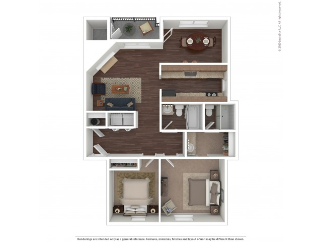 2 Bedroom Floor Plan | Apartments For Rent In Issaquah, WA | Gilman Square Apartments
