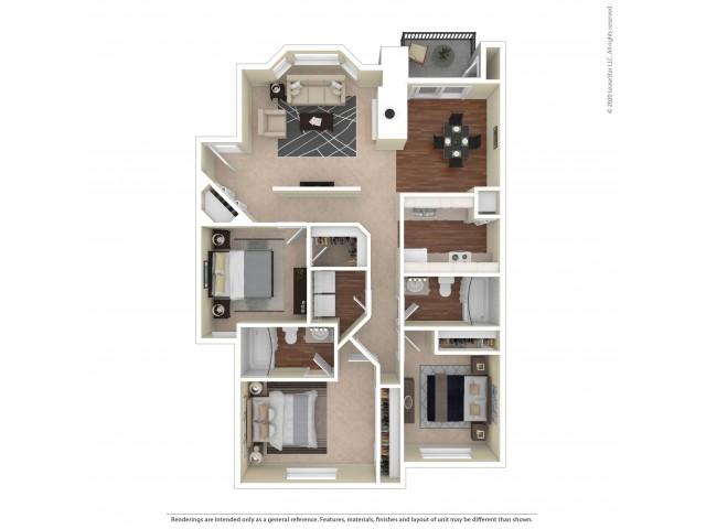 Deerwood Three Bedroom Two Bath 1125 Square Feet  |  Westview Village Apartments