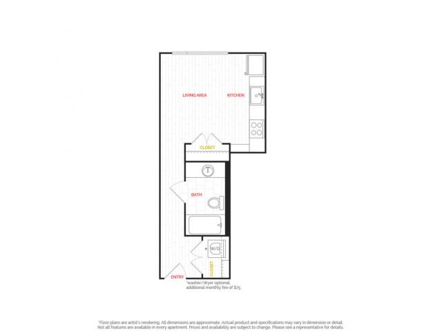 Studio Apartment  |  HANA Apartments  |  Seattle Apartments