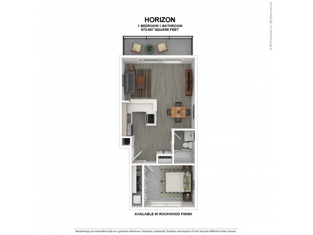 Horizon Floor Plan | Rockwood Finish | 1 Bedroom Floor Plan | Apartments For Rent In Kirkland Wa | The Carillon Apartment Residences