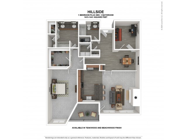 1 Bedroom 2 Bath Apartment Floor Plan | Apartments For Rent in Kirkland WA | The Carillon Apartment Residences