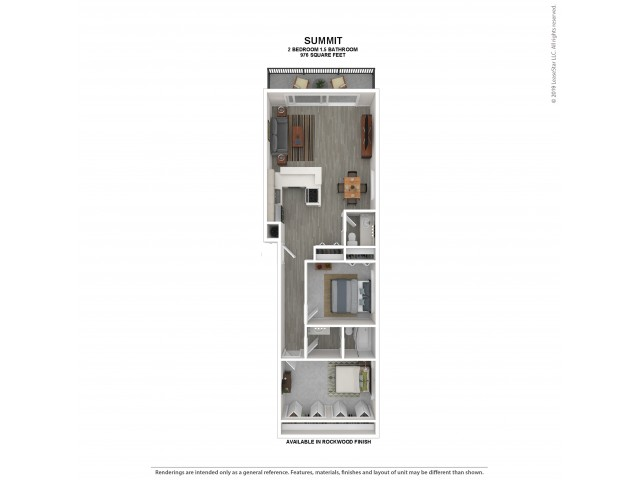 Summit Floor Plan | Rockwood | 2 Bedroom 1 and a half Bath Apartment Floor Plan | Apartments For Rent in Kirkland WA | The Carillon Apartment Residences