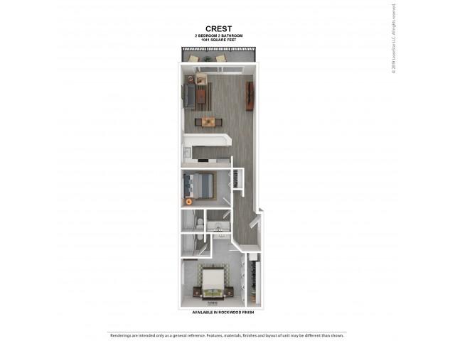 Crest Floor Plan | Rockwood | 2 Bedroom 2 Bath Apartment Floor Plan | Apartments For Rent in Kirkland WA | The Carillon Apartment Residences