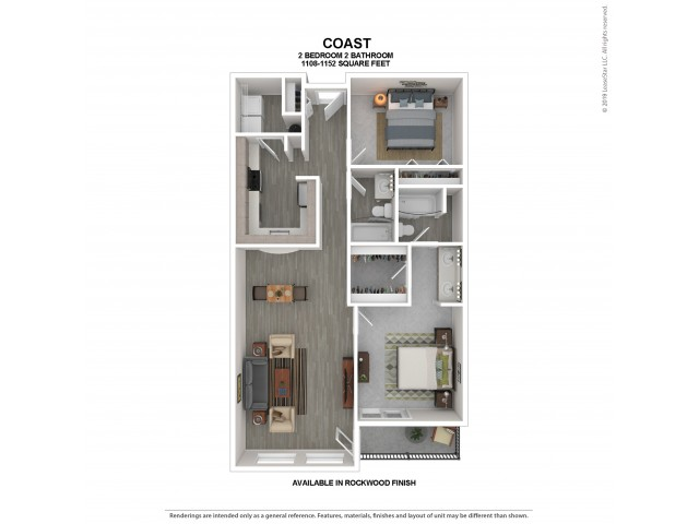 Coast Floor Plan | Rockwood | 2 Bedroom 2 Bath Apartment Floor Plan | Apartments For Rent in Kirkland WA | The Carillon Apartment Residences