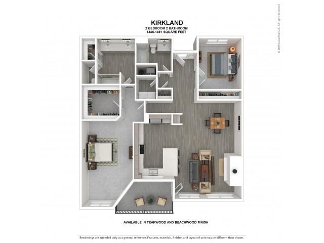 Kirkland Floor Plan | Beachwood | 2 Bedroom 2 Bath Apartment Floor Plan | Apartments For Rent in Kirkland WA | The Carillon Apartment Residences