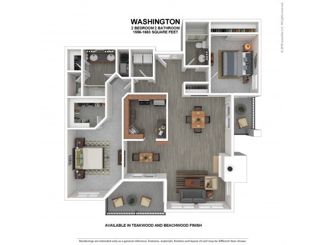 Washington Floor Plan | 2 Bedroom 2 Bath Apartment Floor Plan | The Carillon Apartment Residents | Apartments For Rent in Kirkland WA